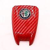 QHCP ABS Carbon Fiber Style 3D Logo Car Smart Remote Key Fob Cover Case Replace For Alfa Romeo Giulia Stelvio (Red Carbon Fiber)