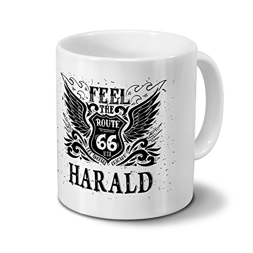 Tasse mit Namen Harald - Motiv Route 66 - Namenstasse, Kaffeebecher, Mug, Becher, Kaffeetasse - Farbe Weiß