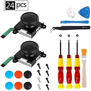 24 pcs 3D Replacement Joystick Analog Thumb Stick for Nintendo Switch Joy-Con Controller - Include Tri-Wing & Screwdriver Tool