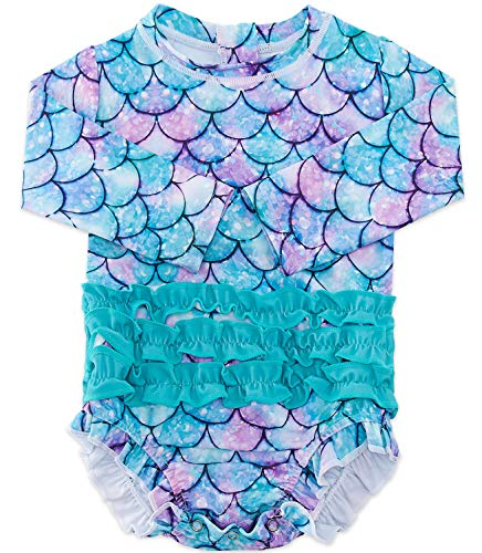 BFUSTYLE Baby Toddler Girls Long Sleeve One Piece Mermaid Swimsuit with UPF 50+ Sun Protection Purple Aqua Mint Lavender Jasper 3-6 Months