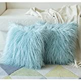 Faux Fur Pillow Cases Blue Teal Fluffy Soft Square Pillow Covers Luxury Throw Decorative Pillow Cover Plush Modern Cushion Covers for Living Room Sofa Bedroom Bed Car 18x18 inch Set of 2