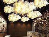 K-LT Pendant Lamp Post-Modern Contemporary Fashion Simple Floating White Clouds Chandeliers Decorative Art Lights Hotel Lobby Silk Hotel Engineering Light, Diameter 1000mm