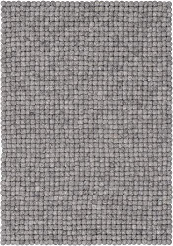 myfelt Carl Filzkugelteppich, rechteckig, Schurwolle, grau, 70 x 100 cm