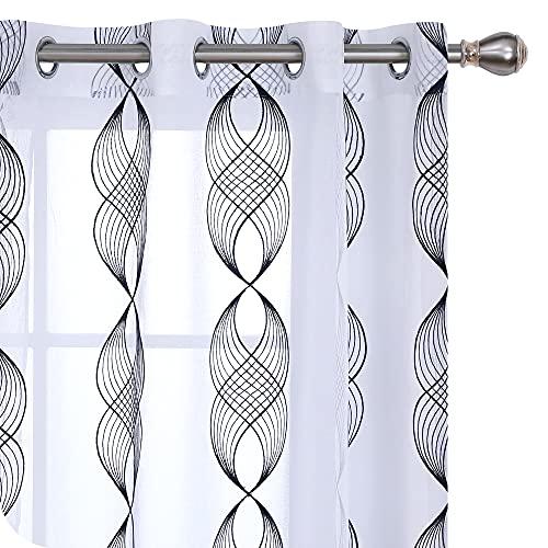 UMI Amazon Brand Cortinas Translucidas Decorativas con Motivos Cinta Espiral con Ojales 2 Piezas 140x290cm Azul Marino