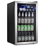 Antarctic Star Beverage Refrigerator Cooler -120 Can Mini Fridge Glass Door for Soda Beer or Wine Constant Glass Door Small Drink Dispenser Clear Front Door for Home, Bar 3.2cu.ft (Black)
