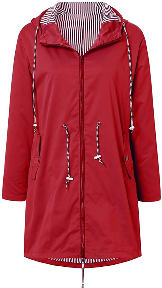 Xmiral Wanderjacke Damen Wasserdicht Winddicht Regenmantel Outdoor Camping Jacke Streifen innen Rot