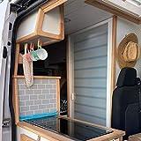 Mampara de ducha enrollable para Campers, Auto/Caravanas, Buses, Veleros, Yates, otros barcos. Altura 172 cm. Blanca translúcida con líneas horizontales.
