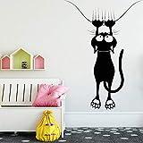 NSRJDSYT Mural de Gato de Dibujos Animados calcomanía Divertida Tienda de Mascotas Ventana Pegatinas de Pared de Vinilo decoración de clínica Veterinaria decoración de h 57x76cm