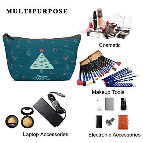 LANURA Santa Toiletry Bags Christmas Background Year Banner Christmas Sale Voucher Newsletter S Ads Coupons Social Makeup Cases Adorable Pencil Packet For Travel Party Women 3