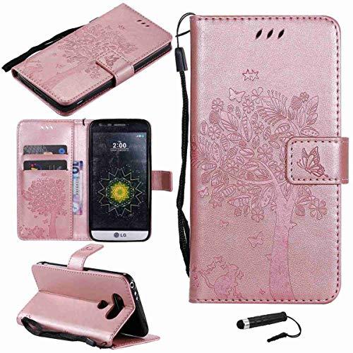 Sangrl Funda para LG G5, PU Cuero Cover Flip Soporte Case [Función de Soporte] [Ranuras] Cat árbol Mariposa Diseño de Patrón en Relieve - Rose Gold