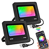 20w Smart Led Flood Lights, IP66 Waterproof Outdoor Color Changing Stage Landscape Light, RGBW Floodlight 2700K & 16 Million Colors, Timing, Music Sync, 20 Modes for Garden Stage Spotlight