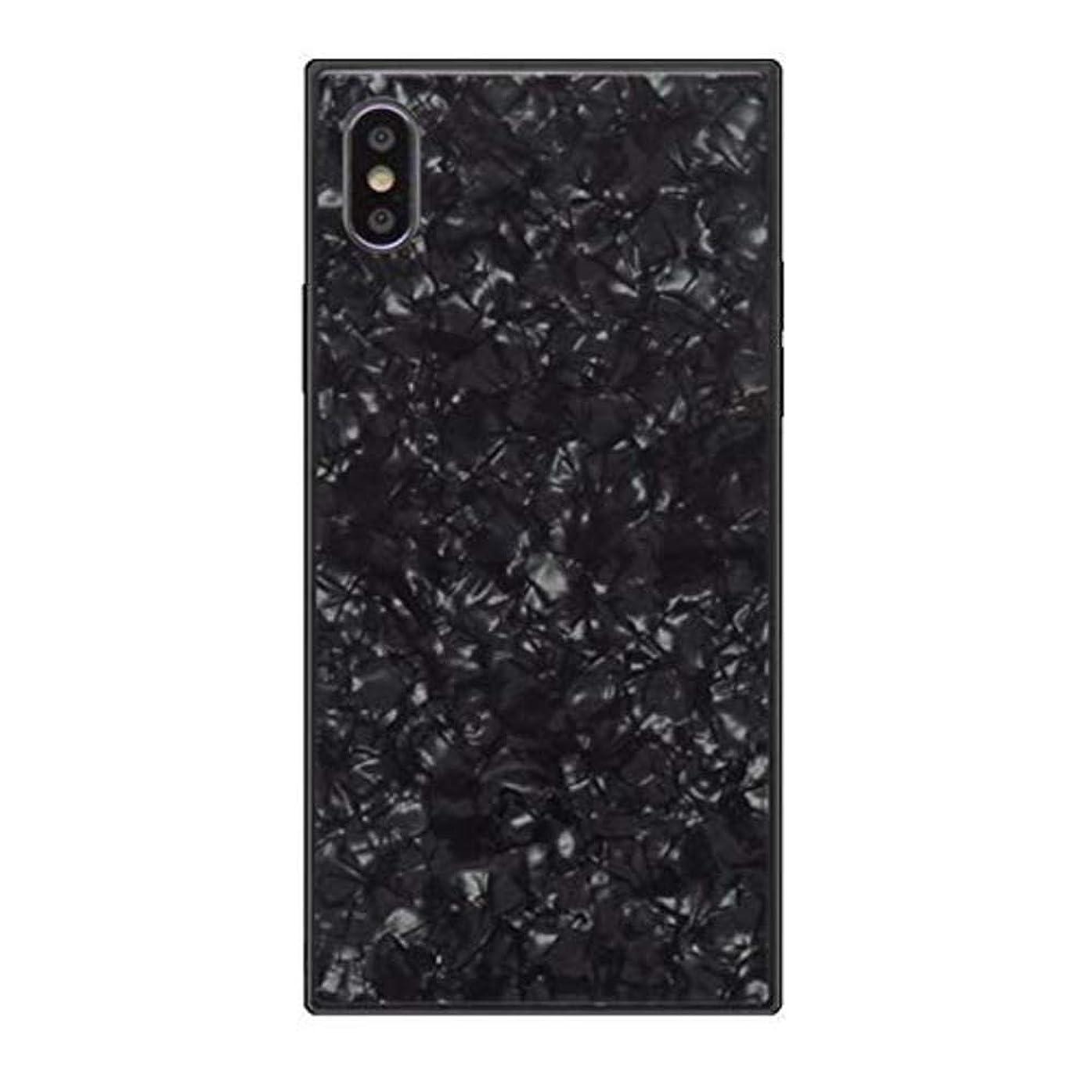 時間とともに売る話すiPhone XR スクエアケース シェル 強化ガラス TPUフレーム スリムケース ハードケース 衝撃吸収 iphone カメラ保護 (iPhone XR, ブラック)