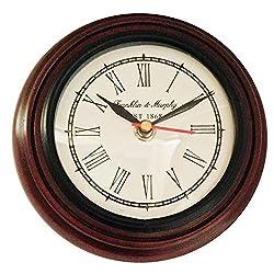 Artshai Antique Look Small 6 Inch Dark Brown Wooden Wall Clock