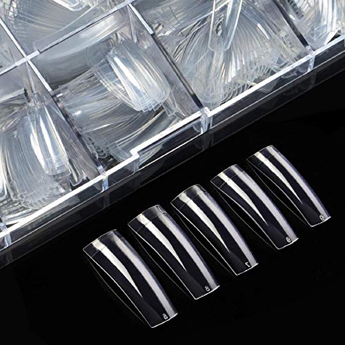 Clear Nail Tips Acrylic Nails - Coffin Nail Tips ECBASKET 500pcs Half Cover French Fake Nail Tips Clear Long Fake Nail Tips Coffin False Nail Tips with Box