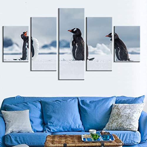 Canvas schilderij met moderne afbeelding van Pinguin, dierenprint, decoratie voor thuis, woonkamer, verkoop, kunst op muur zonder lijst, 40 x 60 cm, 40 x 80 cm, 40 x 100 cm.