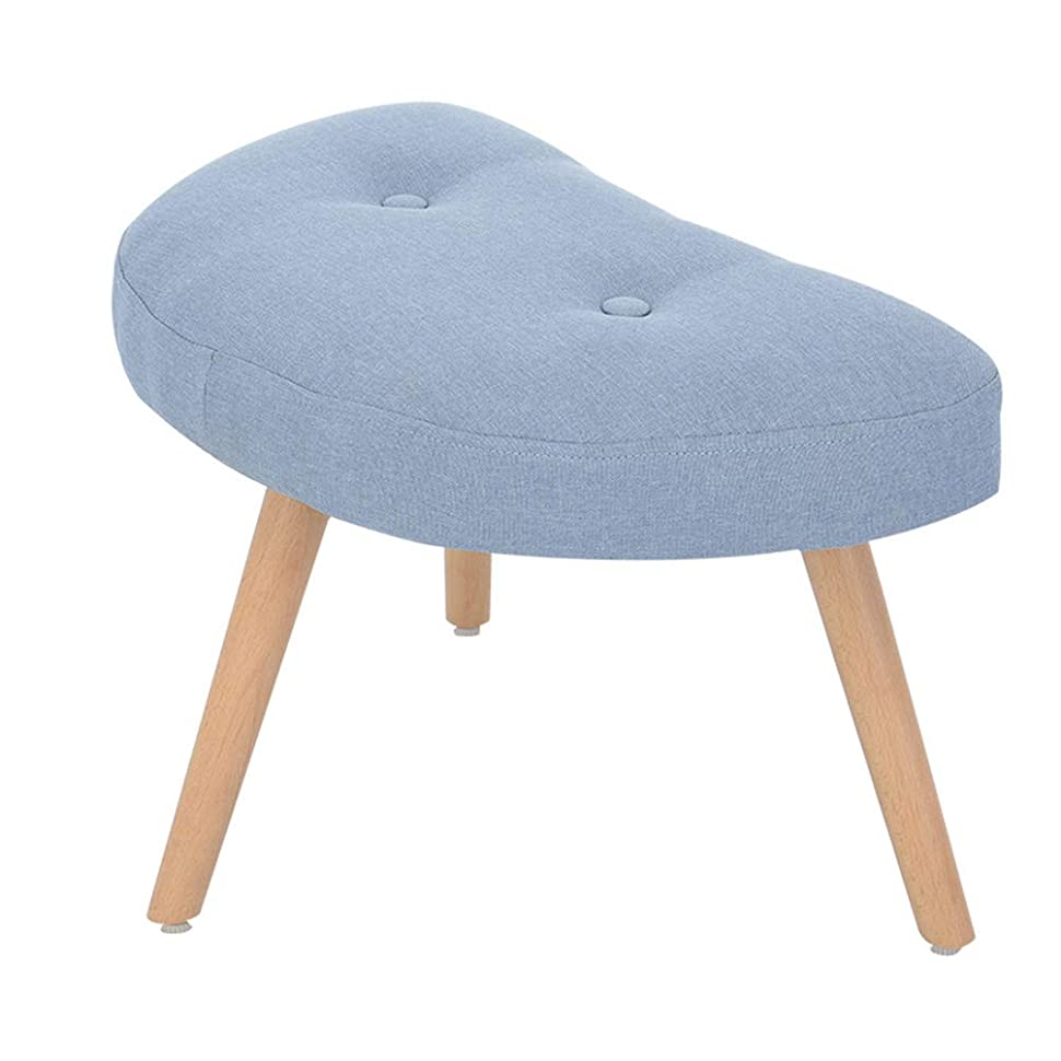 わずかな脚貧困木制ベンチ 原木小型椅子 ソファースツール シンプルでオシャレな座椅子 チェア ドレッサーチェア (背なし) (水色)