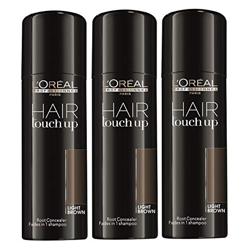 3 x LOREAL Hair Touch Up Spray Light Brown 75ml