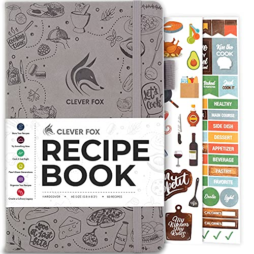 Clever Fox Recipe Book - Make Your Own Family Cookbook & Blank Recipe Notebook Organizer, Empty...