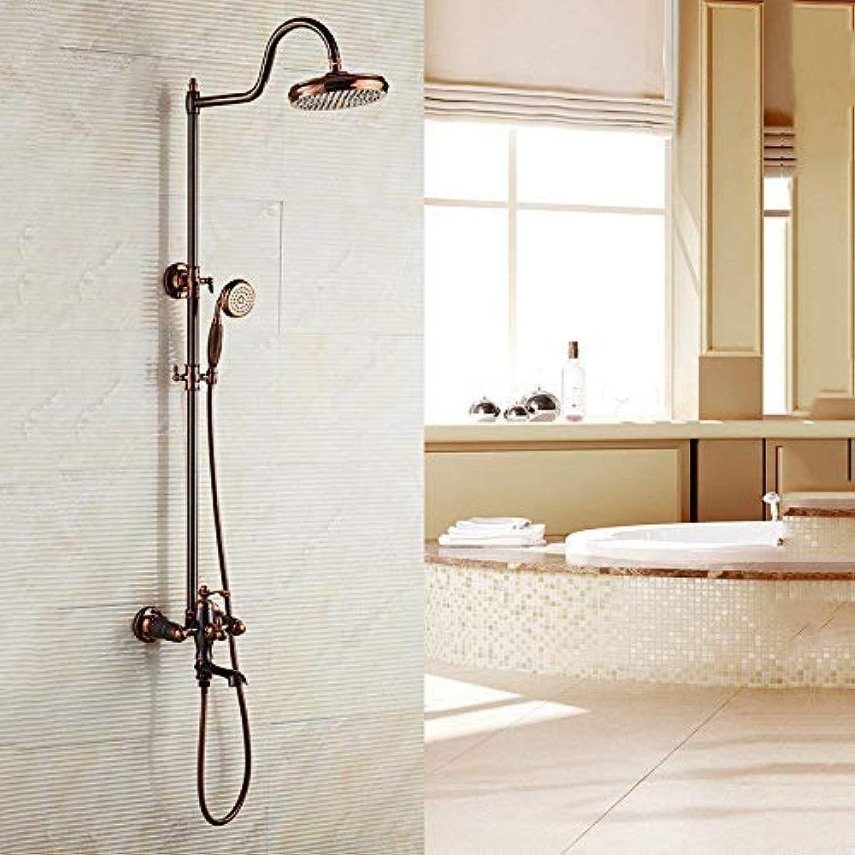 GFF Dusche Europische Retro Dusche Duschset Kupfer Aufzug Badezimmer Hot Hot Hand Bad Bad Dusche Mischbatterie