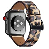 WFEAGL Compatible iWatch Band 38mm 40mm 42mm 44mm, Top Grain Leather Band for iWatch Series 5, Series 4,Series 3,Series 2,Series 1 (Leopard Band+Black connector, 38mm 40mm)