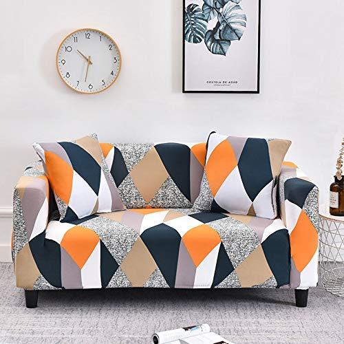 Fundas de sofá universales elásticas geométricas para Sala de Estar Estiramiento Antideslizante Funda de sofá Funda de sofá Funda Protectora de Silla Antipolvo A18 2 plazas