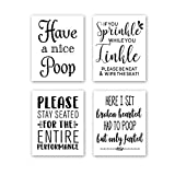 CHDITB Unframed Funny Bathroom Wall Art Black&White Words Print Humorous Quotes Painting, Set of 4(8' x10 ) Canvas Toilet Rules Art Picture for Washroom Bathroom Decor