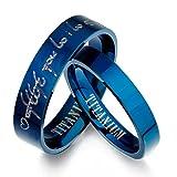 Carcasa el Señor de los anillos Tengwar Elfos y masculino her azul bandas de boda juego de aros de titanio Promise, alianza plano, talla H a Z6