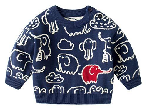 EOZY Baby Jungen Pullover Rundhals Elefant Strickpullover Baumwolle Sweatshirt Sweater Blau 130