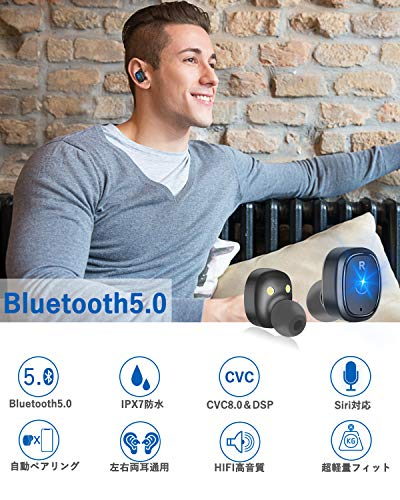 Bluetoothイヤホン高音質ワンボタン設計軽量防水スポーツイヤホン片耳両耳カナル型Bluetooth5.0ワイヤレスヘッドセットマイク内蔵通話可iPhoneAndroid対応(ブラック)