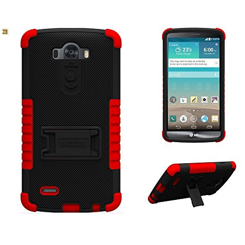 Beyond Cell Case for Tri Shield for LG G3 - Non-Retail Packaging - Black PC with Red Silicone