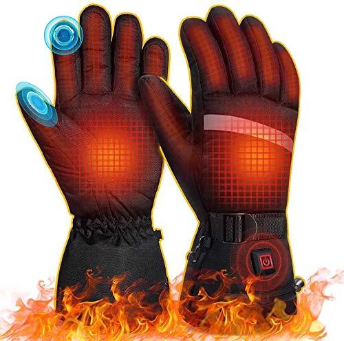 MOVTOTOP Beheizbare Handschuhe, Akku/Batterie beheizbare Handschuhe Damen Herren Wiederaufladbare wasserdichte 3 Heiztemperatur einstellbare Touchscreen Beheizte Handschuhe für Outdoor-Aktivitäten