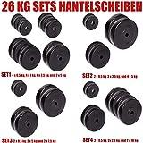 C.P. Sports Hantelscheiben 30/31 mm 26 KG, 30 KG und 52 KG Set, Hantelscheiben Set, Kunststoff, Krafttraining, Fitness, Bodybuilding, Bumper Plates...