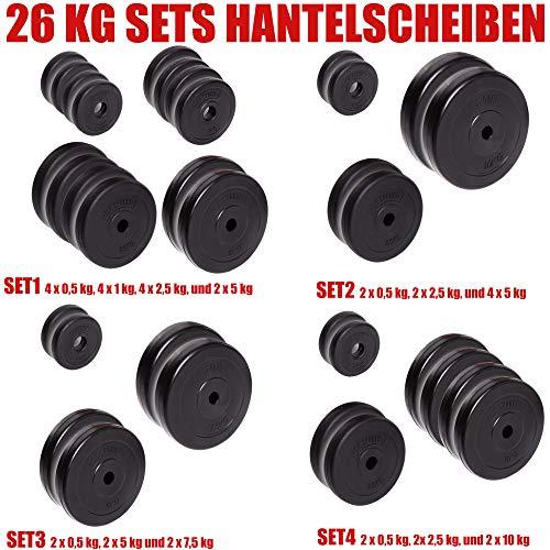C.P. Sports, dischi per pesi da 30/31 mm, set da 26 kg, 30 kg e 52 kg, bumber plates in plastica per pesistica, fitness e bodybuilding, 52 kg – Set 4., 30 mm