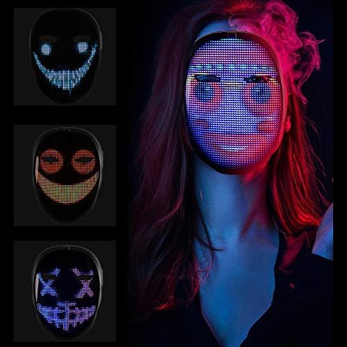 KKTECT LED Leuchtmaske Gruselige Leuchtmasken mit Bluetooth App Control, 45 Animationen, 70 Bilder, DIY-Muster/Texte, Foto-Upload und Musik-Rhythmus-Maske für Partys und Videoaufnahmen