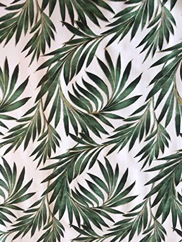 Mantel de vinilo con hojas de palmeras verdes, adecuado para hasta ocho plazas, mantel rectangular de mesa, fácil de limpiar | Mantel de plástico con reverso textil | 2,5 m de longitud (330)