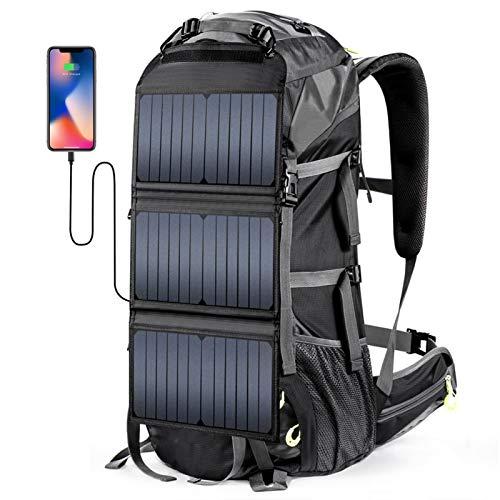 DAUERHAFT Solar Wandern Tagesrucksack Solar Rucksack Leichter wasserdichter 68L Solarbetriebener Rucksack Wanderrucksack Nylon, zum Wandern, Urlaub, Wandern für die Alten