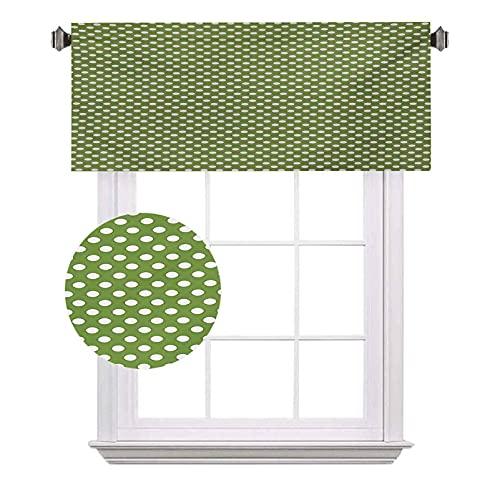 Tende verdi a mezza finestra, a pois bianchi su sfondo verde, stampa semplice e semplice, adatte per piccole finestre in cucina e bagno, larghezza 100 x lunghezza 18 cm, verde oliva e bianco