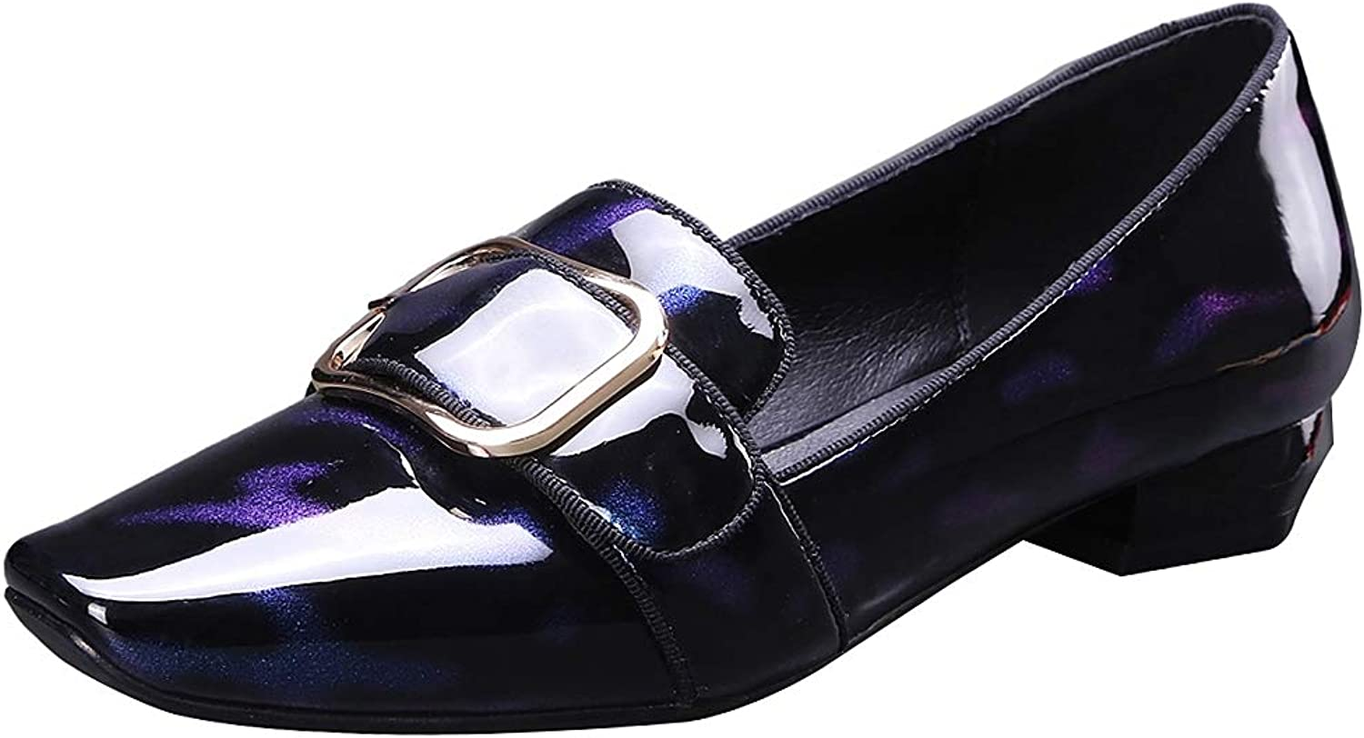 Rismart Women's Buckle Slip on Chunky Heel Trendy Leather Pumps shoes
