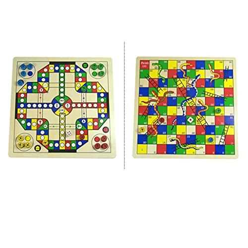 Juego de mesa Ludo Ajedrez volador y ajedrez de serpientes 2 en 1 juego de mesa,juego para niños juego de mesa de escritorio para niños,juegos de diversión de niños tradicionales portátiles Juego de m