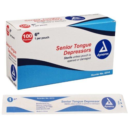 Dynarex Depresor de lengua Senior, estéril, 6 pulgadas, 100 unidades
