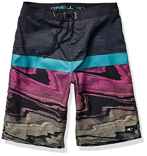 O'NEILL Boys' Big 18 Inch Outseam Ultrasuede Swim Boardshort, Black/Glitch, L/7