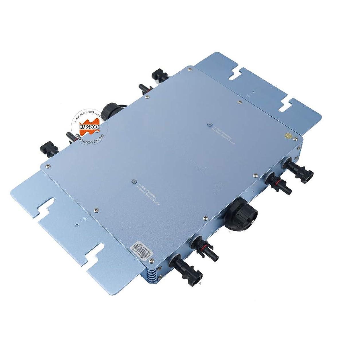 Marsrock IP65 Waterproof 1200W Micro Grid Tie Solar Inverter 22-50VDC to 80-160VAC Pure sine Wave Inverter for 400W-1440W 30V or 36V Solar Panel System (120VAC Blue)