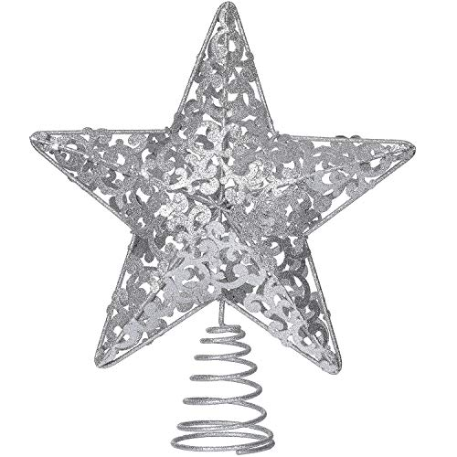 DearHouse 10.7 Inch Silver Christmas Star Tree Topper, Metal Glittered Christmas Tree Topper Star Treetop Decoration for Christmas Tree Home Decor