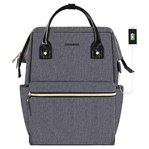 KROSER Laptop Backpack 17 Inch Stylish College Computer Backpack Fits Up to 16 Inch Laptop Water-Repellent Doctor Bag Casual Daypack with USB Port Travel Business School Bag for Men/Women-Grey