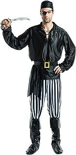 Men's Pirate Costume Halloween Black Renaissance Buccaneer Jacket Jack