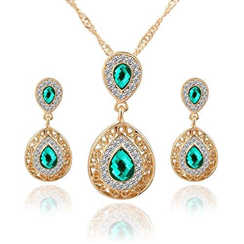 AILUOR Fashion Waterdrop Crystal Jewelry Set, Retro Vintage Celtic Knot Waterdrop Green Gemstone Water Drop Pendant Necklace Stud Earrings Jewelry Set for Women Mother Bridal Wedding (Gold)