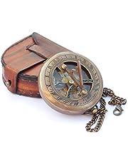 NEOVIVID Messing Sundial Kompas met Leren Kast en Ketting - Push Open Kompas - Steampunk Accessoire - Oude Afwerking - Mooie Handgemaakte Gift - Zonnewijzer Klok