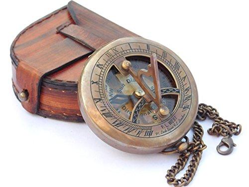 NEOVIVID Cadran solaire en laiton avec boîtier en cuir et chaîne – Boussole à pousser – Accessoire steampunk – Finition antique – Beau cadeau fait à la main – Horloge solaire