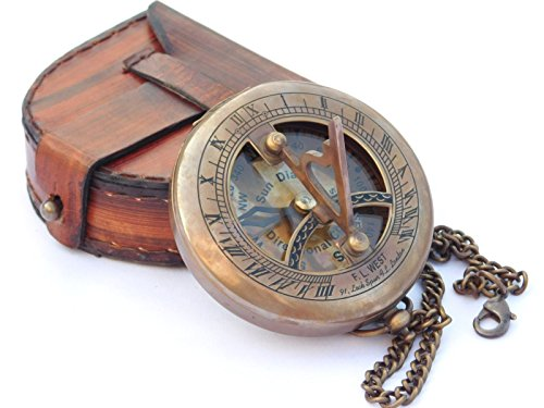 NEOVIVID Brass Sundial Compass with Leather Case and Chain - Push Open Compass - Steampunk Accessory - Antiquated Finish - Beautiful Handmade Gift -Sundial Clock