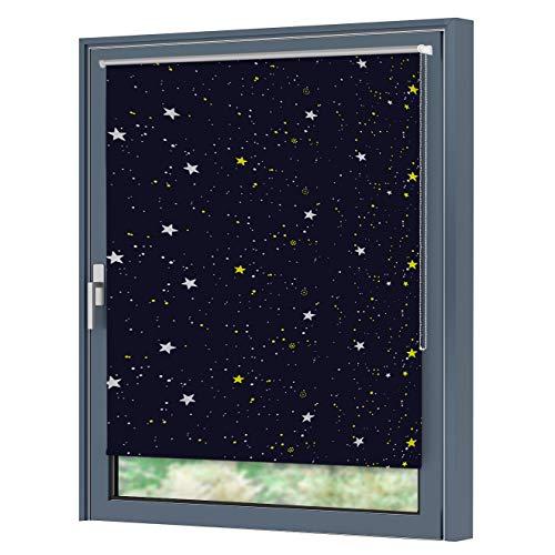 Julido Verdunkelungsrollo mit Silberbeschichtung klemmfix Thermorollo Seitenzugrollo Rollo ohne Bohren für Fenster 95x150cm Sterne